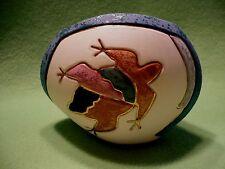 Vintage South Dakota Native image of FROG or TOAD on pottery vase. Vibrant color