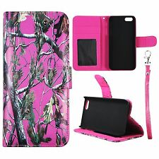 For Iphone 5 , 5S Wallet Pink camo Pinetree Cover Split Leather Case Uni