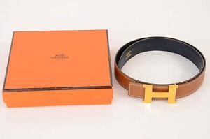 Hermes tan navy 60 reversible leather logo buckle youth waist belt NEW $675