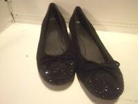 STUART WEITZMAN - Black Suede Embellished w/ Stones Slip on Flat Shoes -Size 6 M