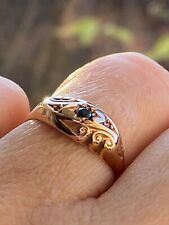Antique Solid 9Ct Yellow gold Genuine Blue Sapphire Flower Ring Chester HM
