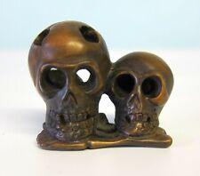 Chinese Boxwood Hand Carved Netsuke Two Skulls