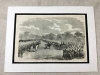 1856 Print Hyde Park Queen Victorian Military Guard Parade Old Original Antique