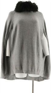 IMAN Platinum Luxe Cashmere Cape Faux Fur Collar HEATHER GRAY M/L NEW 575-545