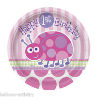"8 Pink Ladybug Girl's Happy 1st Birthday Party Small 7"" Disposable Paper Plates"