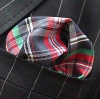 Hankie Pocket Square Handkerchief Red Green White & Blue Tartan