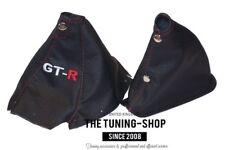 "Gear & Handbrake Boot For Nissan Skyline R34 1998-2002 Leather ""GT-R"" Red Logo"