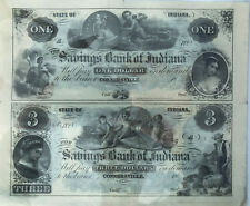 Connersville, IN - Savings Bank of Indiana $1-$3 Uncut Pair COLORFUL Obsolete