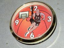 """BASKETBALL  3"""" Quartz Clock FIT UP MOVEMENTS Gold Bezel   4U3"""