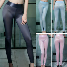 Ladies Smooth Shiny Pencil Pants Leggings Skinny Trousers See-through Lingerie