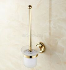 Gold Color Brass Toilet Brush Set Holder Brush + Glass Cup Wall Mount aba611