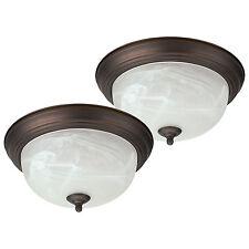 "Oil Rubbed Bronze Flush Mount Ceiling Light Fixture 13"" Alabaster Glass - 2 Pack"