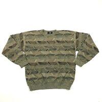 VINTAGE TSR Crew Neck Sweater Men's Size XL 1X Coogi Style Knit Hip Hop USA MADE