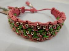Rb17 Raquel Pink Green Rose Gonzales Woven Bracelet
