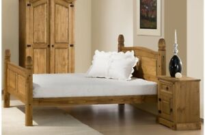 Traditional Waxed Pine Bed Frame With Stylish Black Stud Detailing 5ft Bed Frame