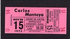 1973 Carlos Montoya unused concert ticket Honolulu Hawaii Flamenco Guitar