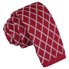 Rejilla Diamante Punto Tejido DQT Blanco Rojo informal para hombre Skinny Tie