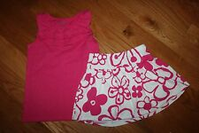 NWT Gymboree Hop & Roll Size 6 Knit Set Pink Ruffle Tank Top Dark  Flower Skort