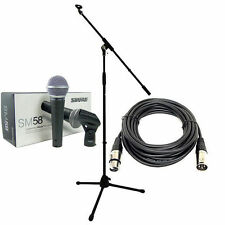 Shure SM58 Vocal Microphone + Professional Mic Boom Stand + XLR Mic Cable + Clip