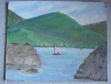 Vintage Oil Painting of Sailboat on Lake Signed ED Tarney 1972