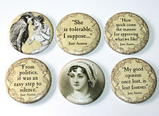 Jane Austen Fridge Magnets Set 55mm 6pc Pride & Prejudice Sense & Sensibility
