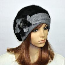 M97 Warm Winter Cute Flower Faux Rabbit Fur Beret Women's Beanie Hat Cap 9-Color
