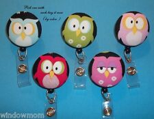 Sleepy Hoot Owls fabric Retractable ID Name Badge Holder Reel clip on