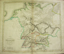 1821 LARGE MAP GERMANIA ANTIQUA VINDELICIA HAND COLOURED 23 x 19 inches