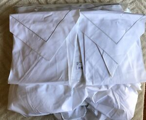 Yves Delorme queen Sheet Set White With Gray Embroidery $390