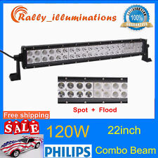 22inch 120W Philips Led Light Bar Spot&Flood Driving Ute Suv Offroad 4WD 12V 24V