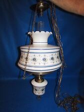 VTG QUOIZEL ABIGAIL ADAMS HURRICANE GWTW GLASS HANGING SWAG ELECTRIC LAMP 3 WAY