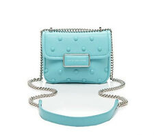 NWT Marc Jacobs Rebel Studded Leather Satchel Messenger Aqua Blue $298 GORGEOUS
