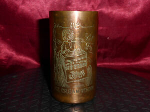 Vtg Engraved COPPER BEAKER CUP African Express Train, Cairo Army Camp, Ice Cream