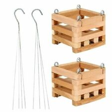 Wooden Square Hanging Basket 4 In. (2-Pack) Durable Handcrafted Plant Hanger