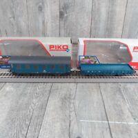 PIKO 73002-1/-3 - HO - Wohnschlafwagen + Flachwagen - OVP -#K26357