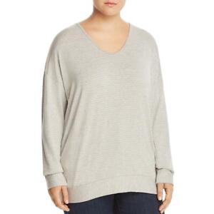 Elan Womens Open Back Long Sleeves Striped Blouse Top Plus BHFO 5340
