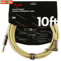 """Fender Deluxe Series 10 ft Tweed Right-Angle Guitar Instrument Cable Cord 1/4"""""""