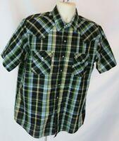 Mens Ely Cattleman Western Shirt Sz L Pearl Snap Front Blue Plaid Short Sleeve