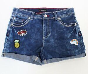 JORDACHE SHORTS Girls Size 16 Denim Jean, Adjustable waist, Rolled Hem, Patches