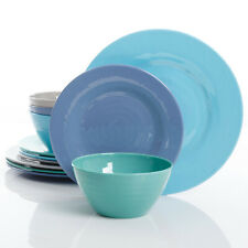 Dinnerware Blue Assorted Aqua Dinner Kitchen Meal Plates Bowl 12 Pc Melamine Set