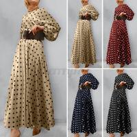 ZANZEA Womens Long Sleeve Polka Dot Abaya Muslim Islamic Dubai Flare Maxi Dress