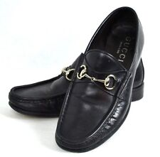 AUTHENTIC GUCCI BLACK GENUINE LEATHER MEN SHOES SIZE 8.5 M MADE IN ITALY