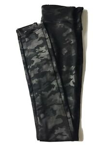 SPANX Faux Leather Camo Leggings Size Small Stretchy Slimming New