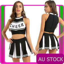 Ladies Black Cheerleader Costume School Girl Uniform Girls Outfits Fancy Dress