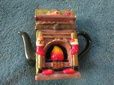 vintage Christmas theme hinged teapot trinket box