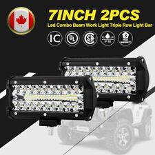 7Inch 160W LED Work Light 2Pcs Triple Row Spot Flood Beam Offroad Driving Lights