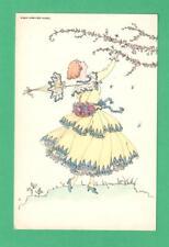 VINTAGE MELA KOEHLER ART POSTCARD FASHIONABLE LADY PARASOL FLOWERING SPRING TREE