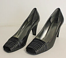 ANNE KLEIN Ebony Black Classic Open Toe Heels Shoes Womens 9M