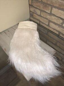Pottery Barn Mongolian Faux Fur Stocking Christmas Decor Ivory