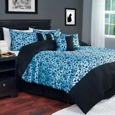 KING Blue & Black Floral Leaf Victoria Damask 7-pc. Comforter Set